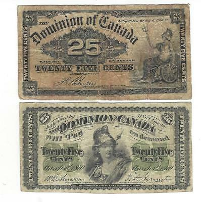 18's  and  19's    Dominion of Canada twenty five cents very OLD  & scarce =N R=