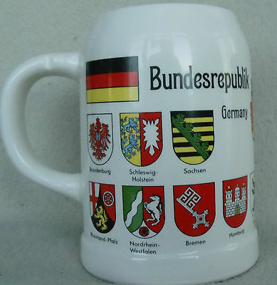"""Germany Ceramic White Stein Made in West Germany 5.25"""" High Gloss"""