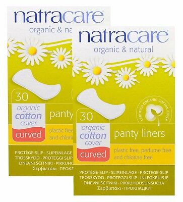Natracare Organic & Natural Panty Liners Curved 30 Liners (Pack Of 2)