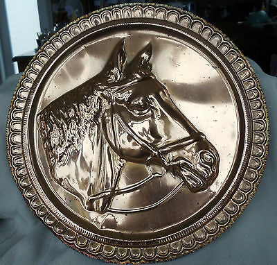 """Vintage Copper Horse Decor Plate Ornate Border Made in Italy 15.5"""""""