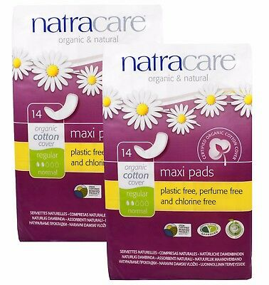 NATRACARE Organique & coton naturel MAXI coussinets régulier 14 - (paquet de 2)