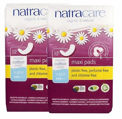 NATRACARE Organique & naturel coton MAXI coussinets Super 12 - (paquet de 2)