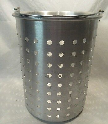 """Aluminum Steamer Basket with Handle for Large Stock Pot, 11"""" Diameter x 14"""" High"""