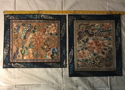 Antique 19c Chinese Silkwork On Silk Panels PR Blind Stitch Museum Qlty. NR