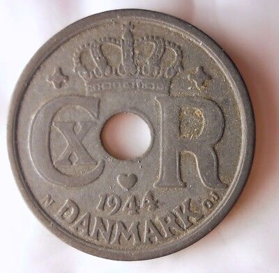 1944 DENMARK 25 ORE - NAZI Occupation - Rare High Quality Coin - Lot #112
