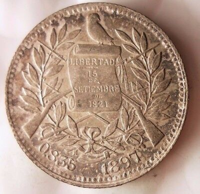 1897 GUATEMALA REAL - AU with Tone - Silver Coin - Lot #112