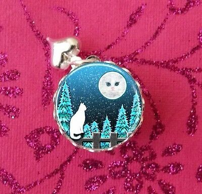 Kitty Cat Moon & Forest, Silver Glass Bubble Charm, Pendant USA