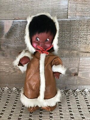 1960's Native Eskimo Child Toy Doll Real Leather Clothing