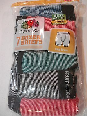 Fruit of the Loom Boys Boxer Briefs NEW 7 Pack Size 10-12 Medium Stripes