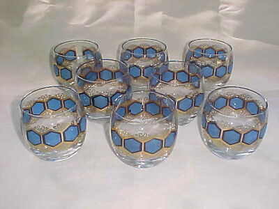 Set Of 8 Mid Century Blue & Gold Roly Poly Glasses Culver Glass?