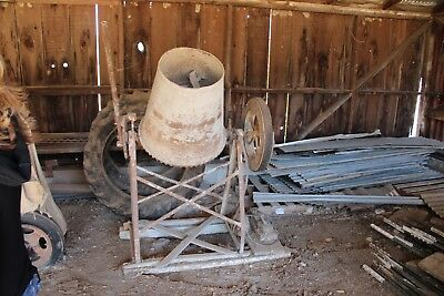 Old Antique Vintage Concrete Cement Mixer Hand Crank