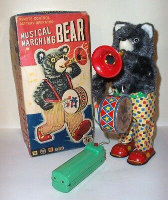 NICE 1950's BATTERY OPERATED MUSICAL MARCHING BEAR TIN LITHO TOY JAPAN ALPS