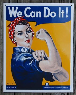We Can Do It! Kiln-Fired Porcelain Enamel Sign Rosie the Riveter Ande Rooney's
