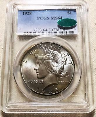 1928  Peace Dollar   Pcgs  Ms64  Cac   Gorgeous  #7126