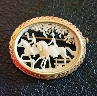Antique Equestrian Brooch Pin Celluloid Gold Plated Brass Signed Depose' France