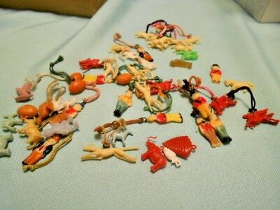 Vintage Lot of 47 Plastic Cracker Jacks Toys Prices Charms Gumball