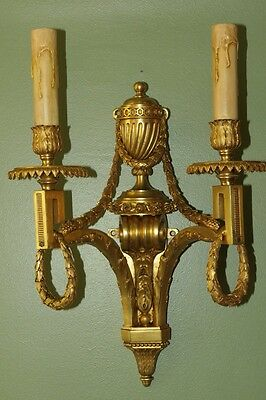 VERY FINE PAIR OF FRENCH  Louis XVI STYLE ORMOLU BRONZE WALL SCONCES