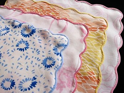 "PRETTY MIX of 4 Vintage D PORTHAULT Flax Linen Tea Napkins 11.5"" FRANCE"