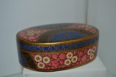 Vintage Laquer Hand Painted Flower Egg Trinket Jewelry Easter Box