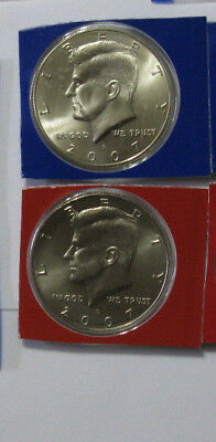 2007 P D Kennedy Half Dollars BU in US Mint Cello - 2 Coin Uncirculated Set