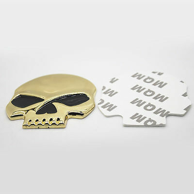 "Large ""GOLD PLATED SKULL"" Black Eyes Stick on Metal Emblem Bike Car(H13)SKULL SA"