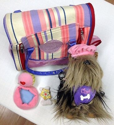 Yorkie Doggie Bakery Chef Pucci Pup Toy Handbag Carrier W/ Accessories By Battat