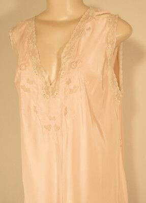 Vintage Soft Rayon Long NightGown Negligee Lingerie Lace/Embroidered Trim XL 42