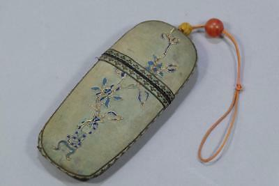 Antique Chinese Spectacles Eyeglass Silk Case With Old Red Agate bead.