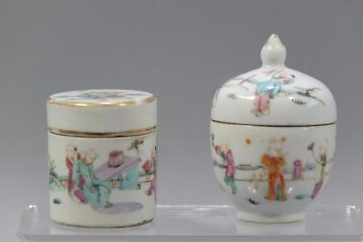 Two Chinese Famille-Rose Porcelain Boxes And covers.