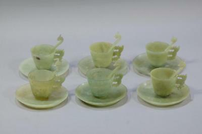 Set Of Six Chinese Jade Jadeite Tableware.Cup Dish And Dragon Spoons.