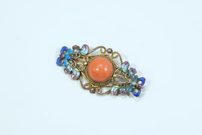 Beautiful Antique Chinese Gilt Silver Enamel Coral Brooch/Pin.