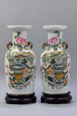 Pairs Antique Chinese Famille-Rose  Porcelain Vases.With Wood Stands.