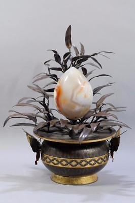 Antique Japanese Palace Bronze Agate Peach Tree With Gilt Pot And Gilt Butterfly