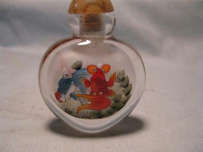 Decorated (Kore & Goldfish) Chinese Snuff/Scent Bottle        #3