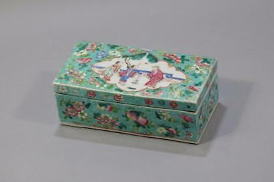 """Chinese Famille Rose """"Figure""""Porcelain Pencil case Box with cover ."""