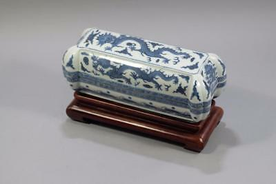 Antique Chinese Blue And White Porcelain Dragon Brushes Box.