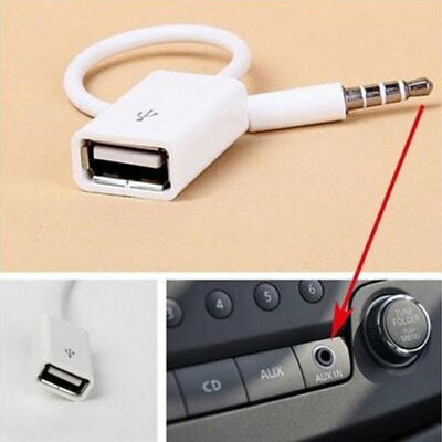 Fashion 3.5mm Male AUX Audio Plug Adapter To USB 2.0 Converter Cable MP3