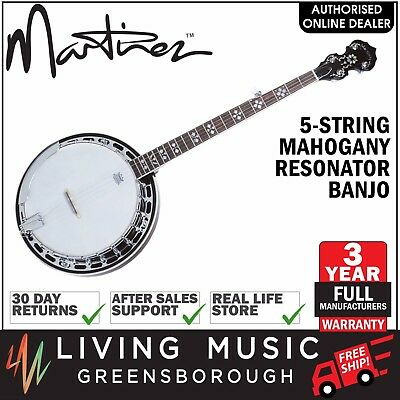 NEW Martinez 5 String Mahogany Intermediate Resonator Banjo (Natural Gloss)