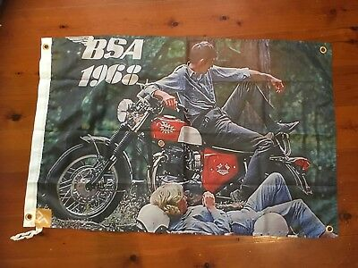 BSA British Motor cycle Man cave flag hanging signs bar garage  motor bike MC