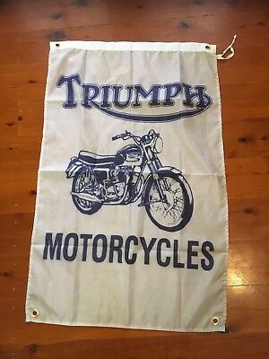 Vintage  Man cave flag hanging signs bar garage  triumph motor bike biker MC
