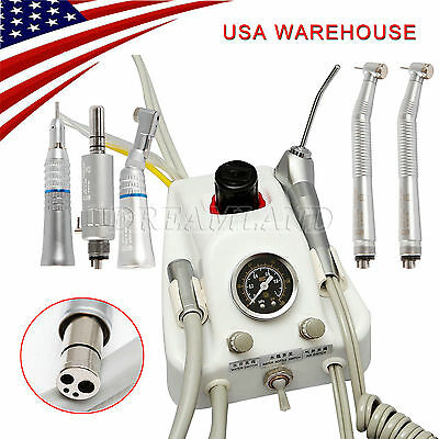 US Portable Deliver Dental Air Turbine Unit+High Speed Contra Handpiece Motor 4H