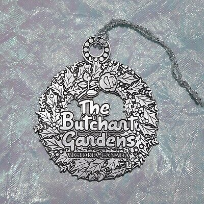 The Butchart Gardens Pewter Wreath Christmas Holiday Ornament Victoria Canada
