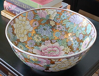 Vintage Japanese Porcelain Ware Hand Painted Floral & Gold Decorated Bowl