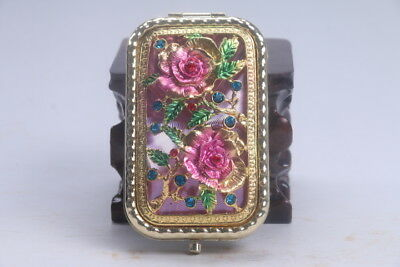 Exquisite handmade hollow out Inlaid diamond pink mirror flower AD683
