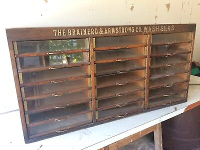 Vintage Brainerd & Armstrong's General Store Advertising Spool Silk Cabinet Case