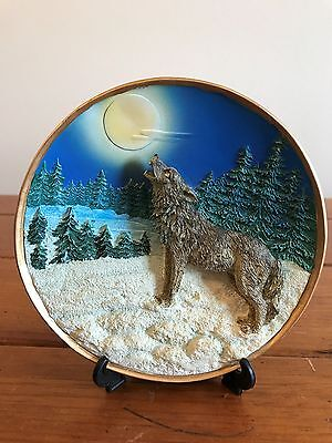 Textured Wolf native american collector plate