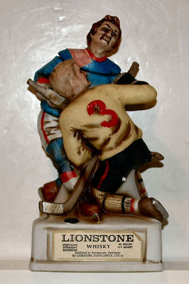 1974 Lionstone Decanter - Hockey Players - Full Size Porcelain