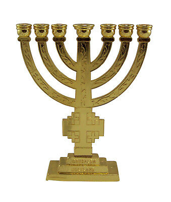 7 Branch Temple MENORAH Gold Color with Jerusalem Cross Holy Land Gift