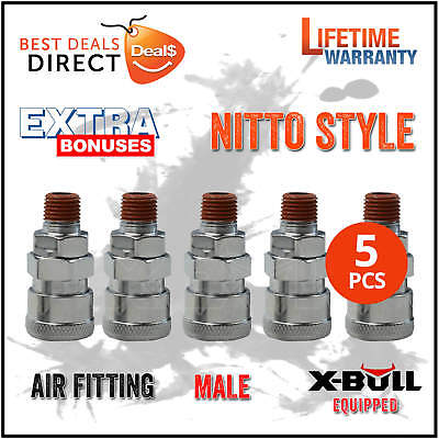 NEW X-BULL 5Pcs Socket Male Nitto Style Air Fitting Coupler Quick Coupling 20SM