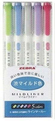 ZEBRA MILDLINER Soft Color Double-Sided Highlighter, 5 Color Set (WKT7-5C-NC)